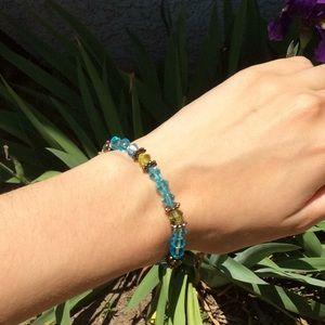 Handmade Blue Green Beaded Simple Basic Bracelet